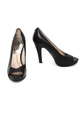 6m Heels (MICHAEL KORS Peeptoes Gr. 6M EU 34 Damen Schuhe High Heels Pumps Schwarz Leder)
