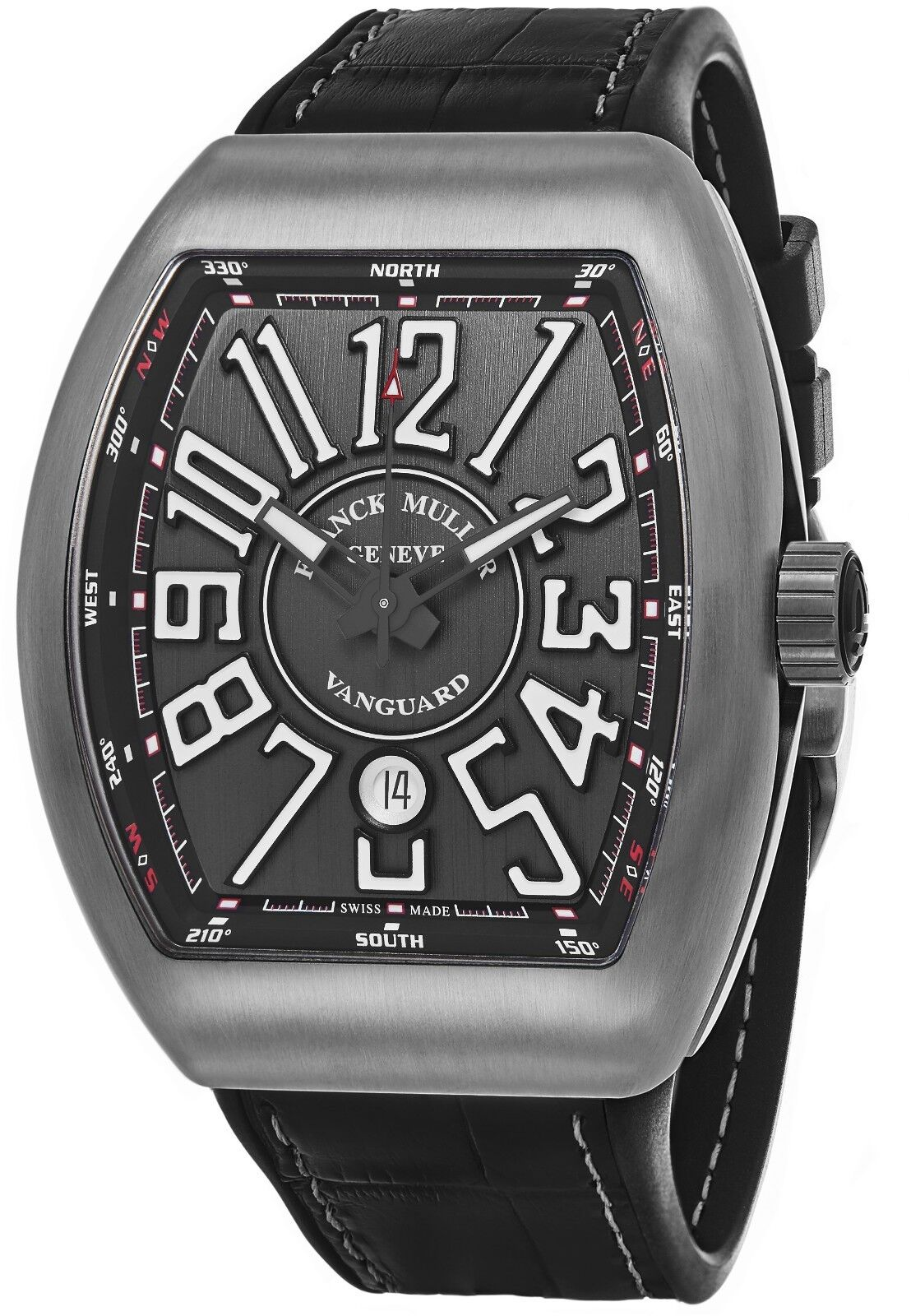 Franck Muller Men's Vanguard Black Leather Strap Automatic Watch 45SCTTBRNRGRYWH - watch picture 1