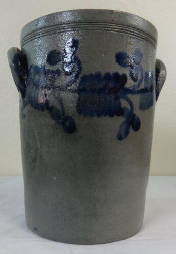 Antique 2 Gal. Stoneware Jar Straight Sided Slant Form Blue Floral Decoration
