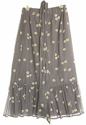 VTG 60s 70s DAISY Daisies Floral Hippie Prairie Peasant MaxiI Skirt Boho L/XL