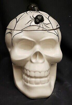 "Morgue Sale: Halloween Vintage Style Cream SKULL Cookie Jar 9""Retired 2014 MINT"