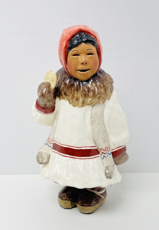 "C. Alan Johnson Inuit Eskimo Girl ""Sophie"" Signed Figurine @1989  AH68"