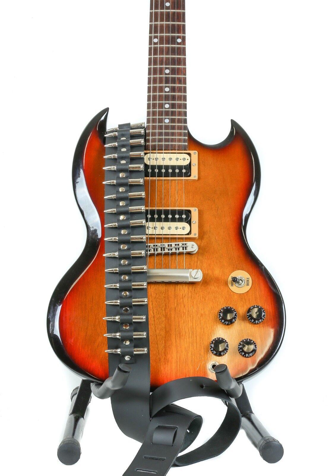 Bullet Guitar Strap .223 Caliber Nickel Shell Tips Goth Heav