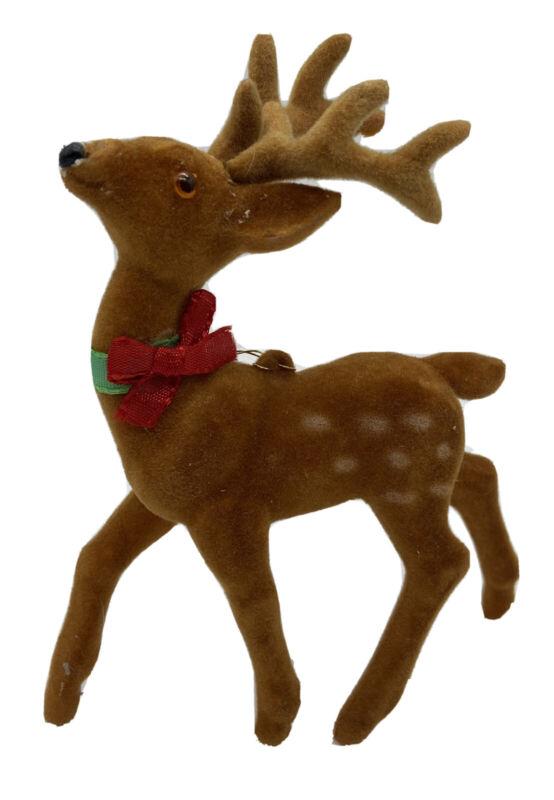 Vintage Flocked Deer Fawn Buck Christmas Ornament Antlers Eyes Red & Green Bow
