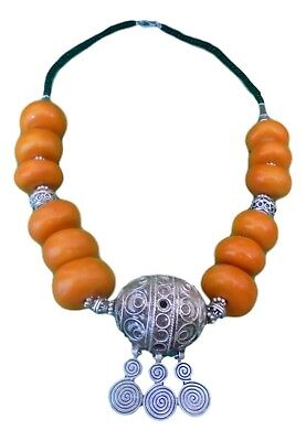 Magnificent Moroccan Berber Amber Beaded Necklace.
