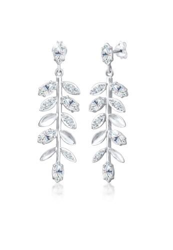 Elli PREMIUM Ohrringe Hänger Blatt Swarovski® Kristalle 925er Silber