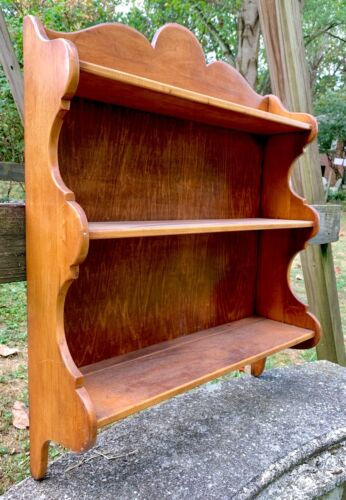 Large VINTAGE SOLID WOOD PLATE DISPLAY HOLDER SHELVES Whitney *With Grooves