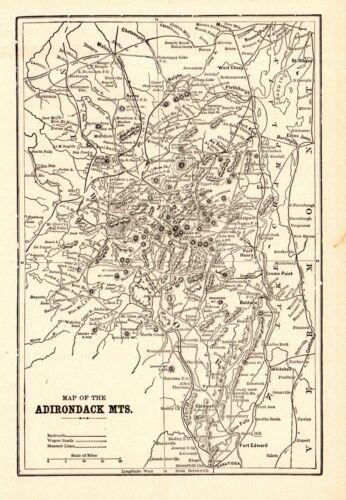 1900 Antique Adirondack Mountains Map White Mountains Map Crams Atlas Map 8926