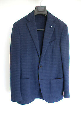 Lardini Navy Cotton Jacquard Woven Pattern, Made in Italy Sportcoat - 36/46