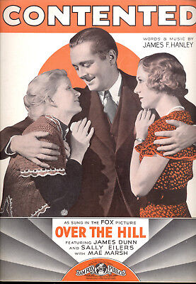 Over The Hill Sheet Music  Contented  James Dunn Sally Eilers Mae Marsh