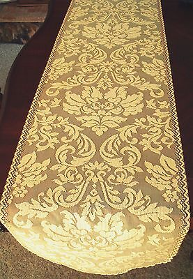 Heritage Damask 14x64 Colonial Gold Table Runner  Heritage Lace - Gold Lace Table Runner