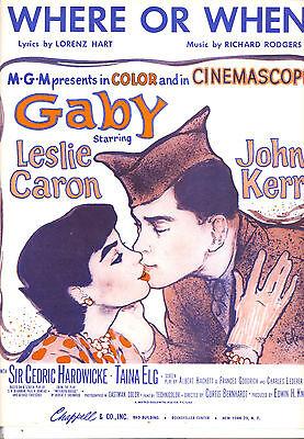 "GABY Sheet Music ""Where Or When"" Leslie Caron John Kerr Rodgers & Hart"