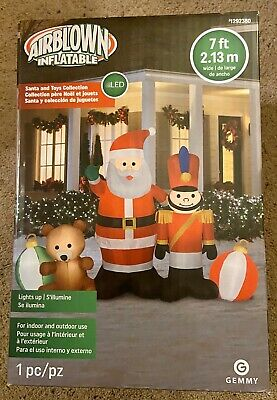 7 Ft Teddy Bear (Santa/Toy Soldier/Teddy Bear/Ornaments Christmas Airblown Inflatable, 7 FT.,)