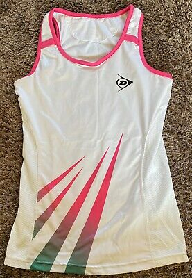 DUNLOP Sports Tennis Womans LADIES Size UK S Tank Strap TOP White PINK Green for sale  Shipping to South Africa