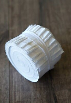 2.5 inch White on White Jelly Roll 100% cotton fabric quilting strips