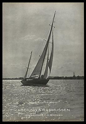 Grosse Werbung 1950 Atlantik-Yacht BREMA Werft Abeking & Rasmussen Bremen