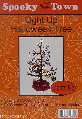 Halloween Tree Ornaments (Halloween 19 inch Spooky Tree with Ornaments & Spiders 16 Bright Colorful Lights)