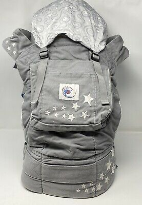 Original Ergobaby ERGO Embroidered Gray Galaxy Stars Baby Infant Carrier  EUC
