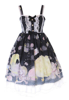 JSK-73-3 Negro Gato UFO Astronauta Luna Lazo Vestido Goth Lolita Cosplay