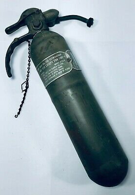 Vtg. Randolph Laboratories Fire Extinguisher Co-2 Navy Army Green Mounting Wwii