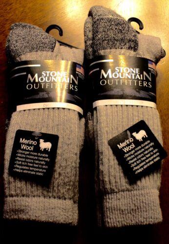2 Pairs Men / Women 70%  Wool Stone Mountain Outfitter Size 9-11 Free Shipping @