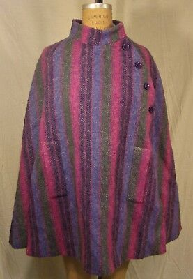 Vtg Jimmy Hourihan Irish Wool Cape made in Ireland  Donegal Tweed  small