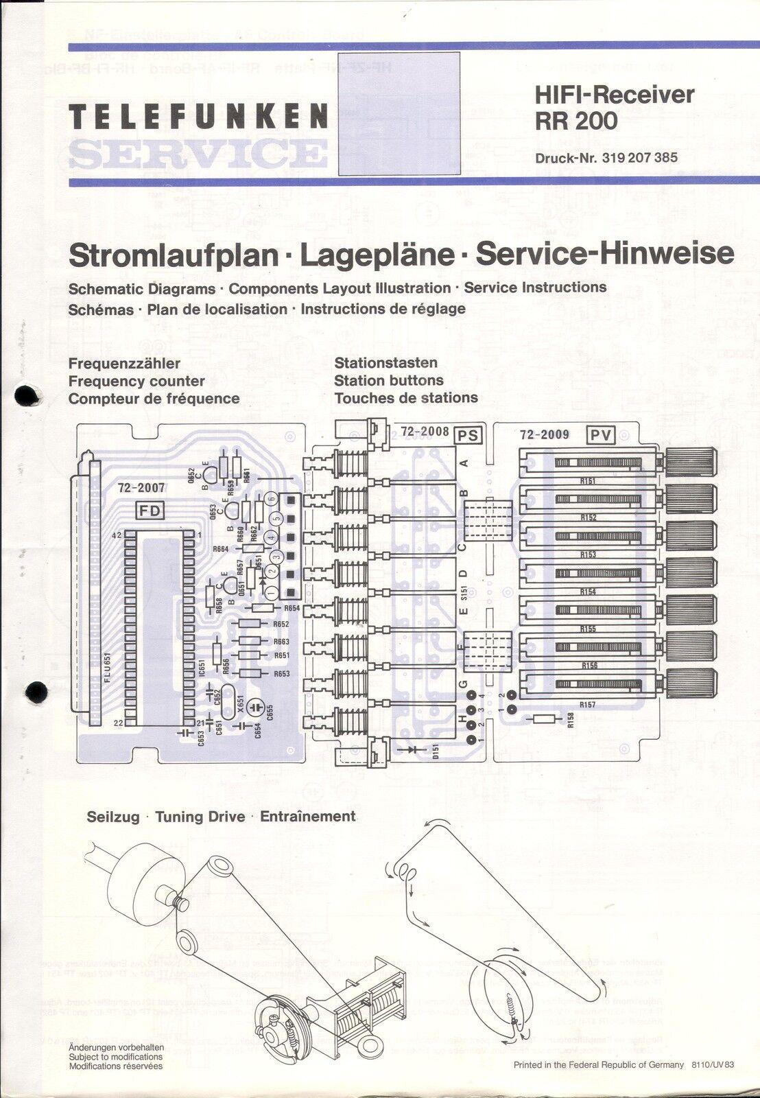 Telefunken Service Schaltplan für RR 200  Copy