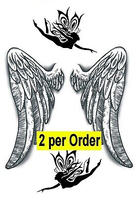 2 Angel Wings Temporary Fake Tattoo Waterpoof Protection Love Lost Body Transfer ()