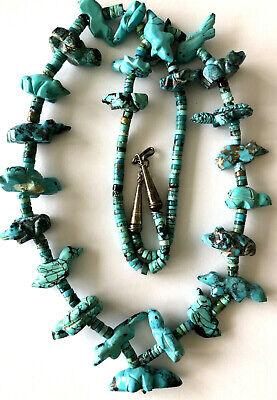 Sarah Leekya Zuni Natural Turquoise Carved 25 Animal Sterling Fetish Necklace