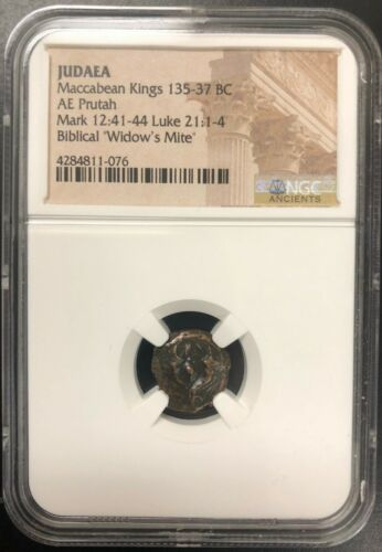 135-37 BC Widows Mite NGC Certified - Maccabean Kings