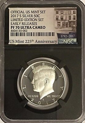 2017 S PROOF SILVER KENNEDY LIMITED EDITION SET NGC PF70 ER ULTRA CAMEO RETRO