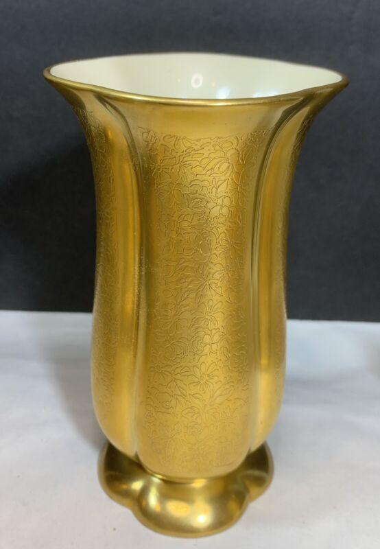 Vintage MCM Pickard China Gold Encrusted Rose & Daisy #848 Vase Glamour