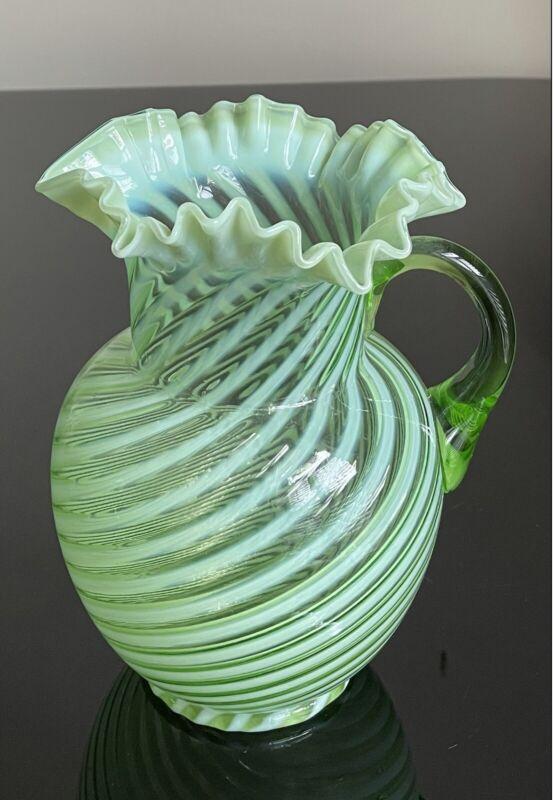 Antique Green Opalescent Swirl Art Glass Water Pitcher Jefferson Ruffled Rim