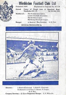 Football Programme>WIMBLEDON v KETTERING TOWN Feb 1975