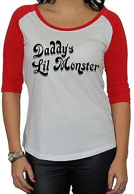 Daddy`s Lil Monster 3/4 Longsleeve Harley Quinn Batman Jocker Ledger Gotham Fun (Daddys Lil Monster)