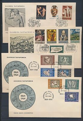 XC13930 Greece 1964 paintings ancient greek art FDC's used