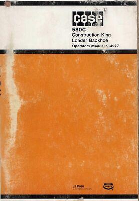 Case 580c Construction King Loader Backhoe Operator Manual Bur 9-4977 978 Cd