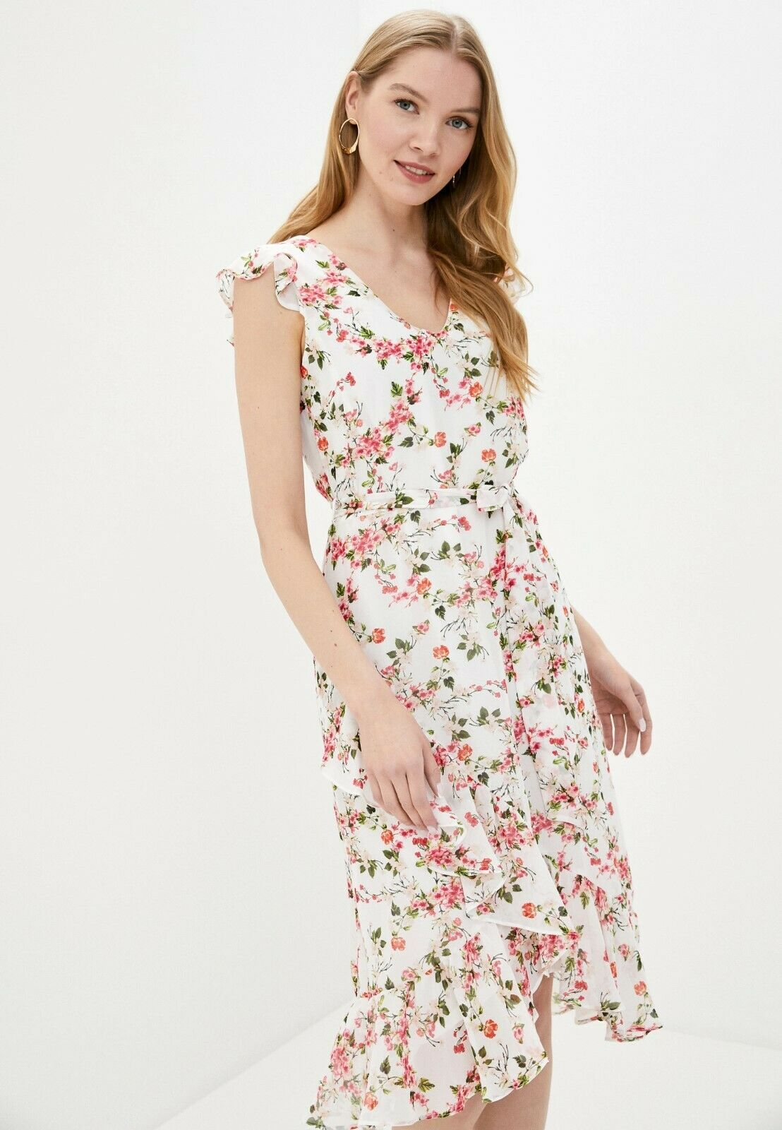 Wallis Pink White Floral V neck Frill Sleeve Fit Flare Summer Party Dress 8-16