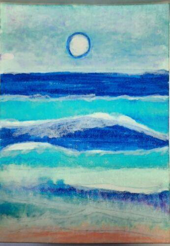 ACEO Art Card Original Watercolor, Ink Landscape,Signed, Outsider Art, Brut Art - $2.99
