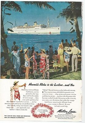 1954 Original S. S. Lurline Cruise Ship Matson Lines AD Man Cave She Shed Decor](Cruise Ship Decorations)