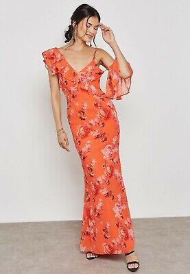 Hope & Ivy Asymmetric Ruffle Shoulder Maxi Dress Size 14 Uk BNWT RRP £85 Orange
