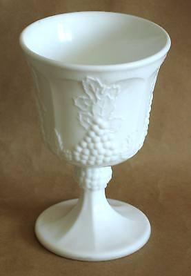 Vintage Paneled Panel Grape Heavy White Glass Goblet FREE SH