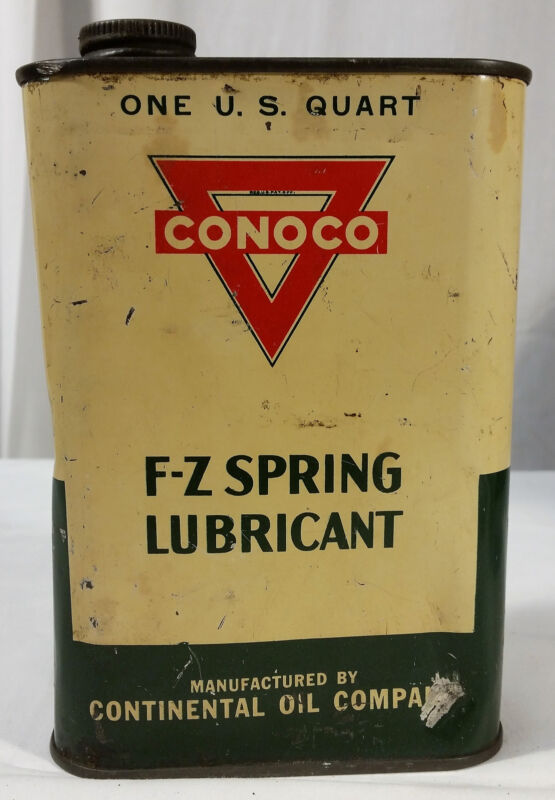 Vintage Quart Can Conoco F-Z Spring Lubricant Full Tin NOS New Old Stock