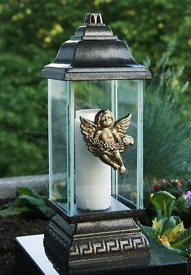 Grablaterne Grablampe Grableuchte Bronze Engel Grabschmuck inkl. Grablicht Kerze