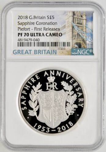 2018 Great Britain Sapphire Coronation Piefort Silver NGC PF 70 UC 1.8OZT