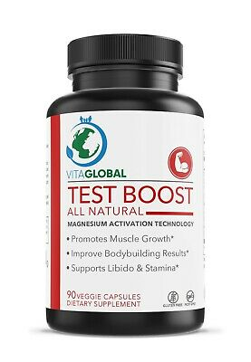 Testosterone Boost Magnesium Activation. This All Natural by VITAGLOBAL 90 Caps