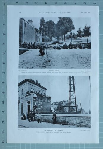 1914 WW1 PRINT DEFENCE OF LOUVAIN BELGIAN INFANTRY SOLDIERS GUARDING RAILWAY