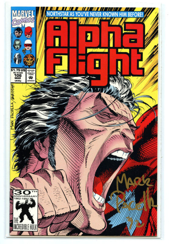 Marvel Comics Alpha Flight Issue #106 Mark Parcella Signed New 1992 NM/M