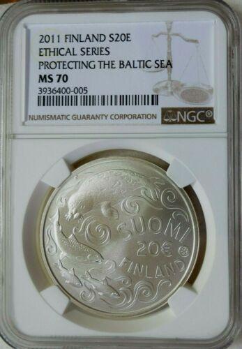 2011 Finland Silver 20 Euro Baltic Sea NGC MS 70