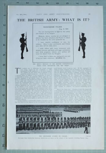 1914 WW1 PRINT KINGS MESSAGE BRITISH EXPEDITIONARY FORCE GRENADIER GUARDS PARADE